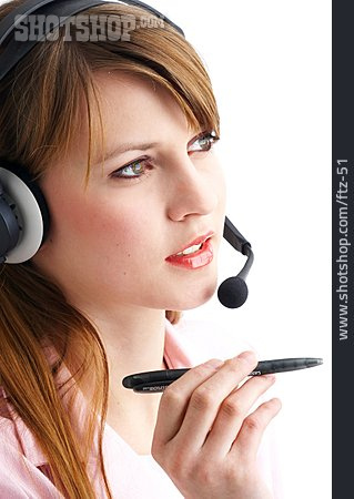 Young Woman, On The Phone, Headset, Advice