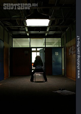 Woman, Chair, Alone