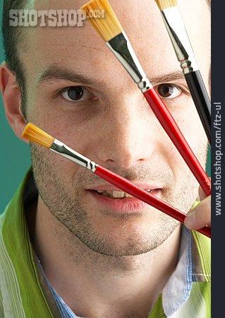 Man, Paintbrush