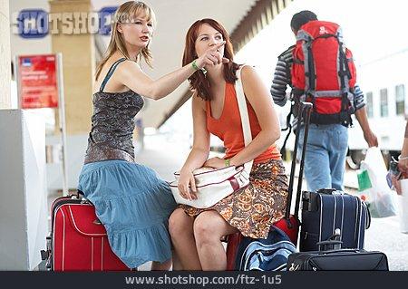 Young Woman, Platform, Train Travel