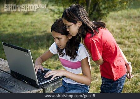 Girl, Mobile Communication, Laptop