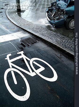 Traffic Sign, Bike Lane, Accident