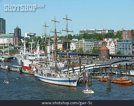 Harbour, Hamburg, Sailboat
