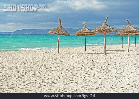 Beach, Parasol, Straw Umbrella