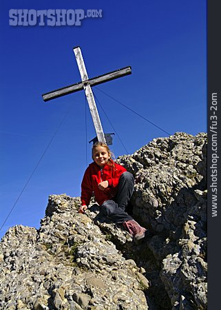 Girl, Hiking, Summit, Cross