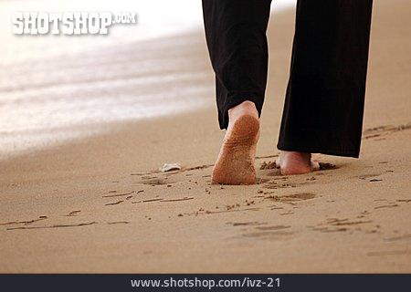 Walk, Barefoot, Sandy