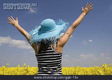 Woman, Summer, Rape Field, Positive Emotions
