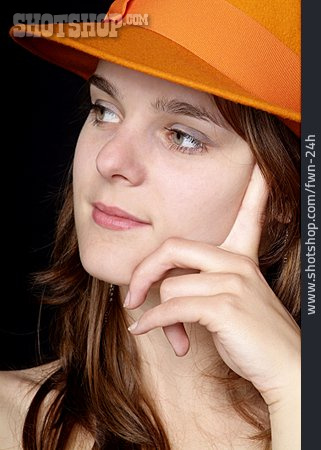 Young Woman, Woman, Hat, Pensive, Dreaming