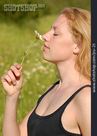 Enjoy, Smelling, Scent Of Flower