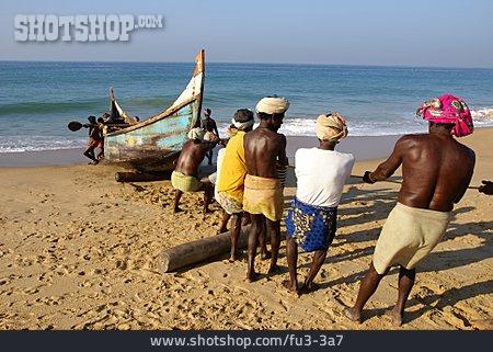 Beach, Boat, India, Group, Chowara