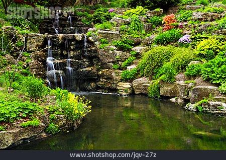 Waterfall, Park, Japanese Garden