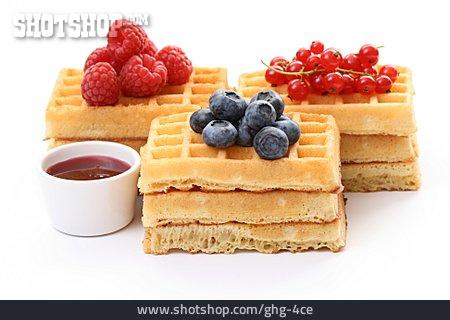 Berries , Waffle, Fruit Sauce