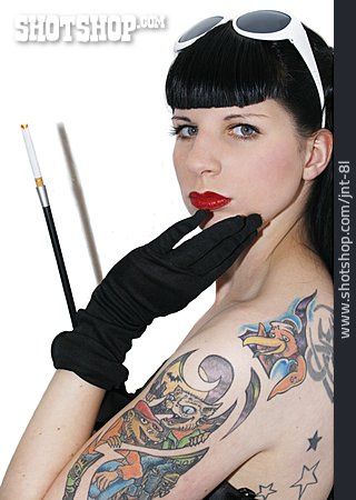 Young Woman, Tattoo, Cigarette Holder, Rockabilly