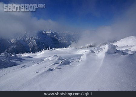 Mountain Range, Winter Landscape, Snow Drift