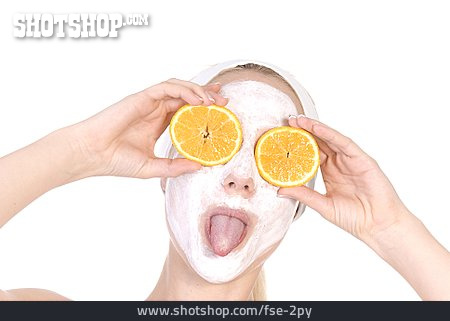 Young Woman, Grimace, Facial Mask