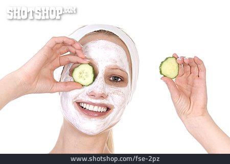 Young Woman, Facial Mask, Cucumber Mask