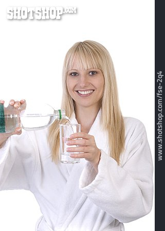 Young Woman, Pouring, Water Bottle, Glass
