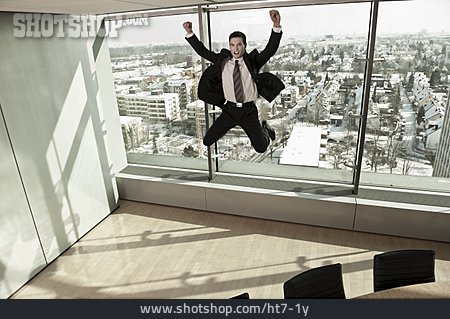 Office & Workplace, Cheering, Jumping, Businessman
