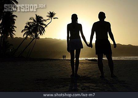 Couple, Beach, Silhouette, Caribbean