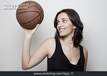 Woman, Sporting, Throwing, Basketball
