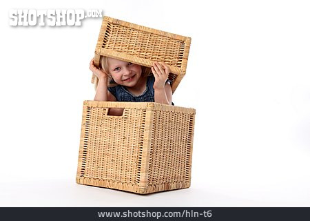 Child, Girl, Hiding, Look Out