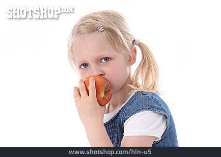 Girl, Eating, Apple
