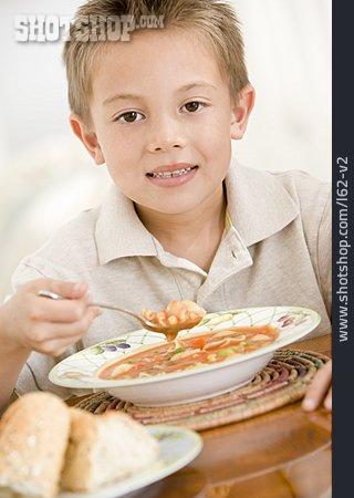 Boy, Meal, Vegetable Soup