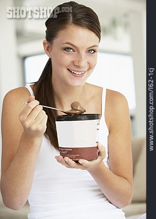 Young Woman, Woman, Eating, Chocolate Ice Cream