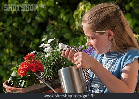 Girl, Watering, Balcony Flowers