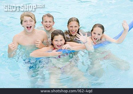 Children Group, Fun & Happiness, Swimming Pool, Bathing
