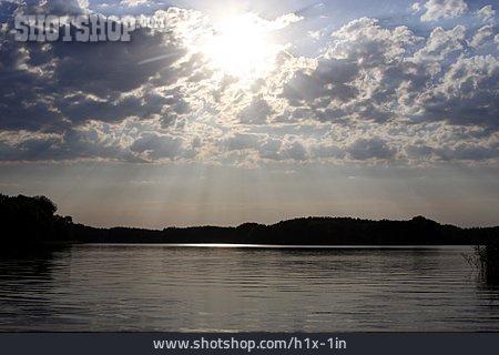 Landscape, Lake, Sunbeams