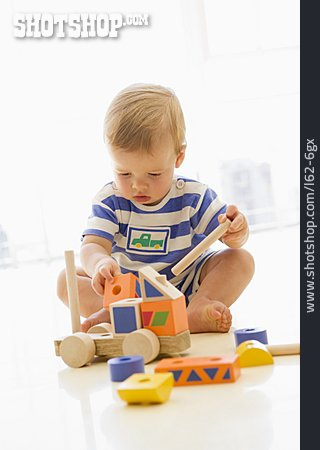 Boy, Playing, Wooden Toys