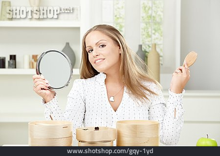 Young Woman, Combing, Hair Care