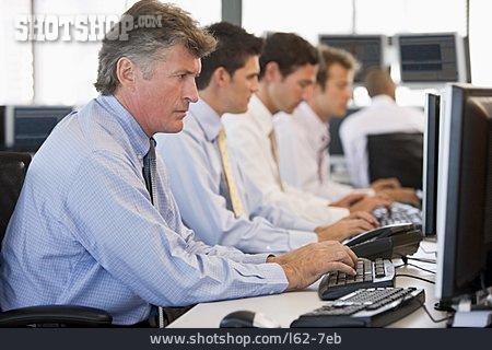 Typing, Open Plan Office, Stockbroker