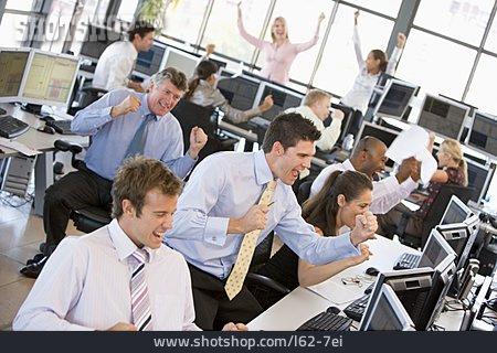 Stock Exchange, Cheering, Open Plan Office, Stockbroker