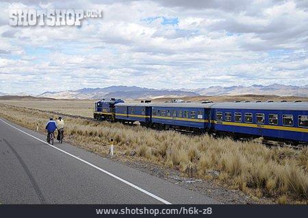 Train, Cyclists, South America