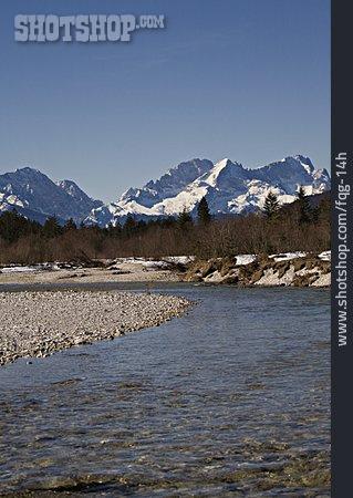 European Alps, Riverbed, Isar