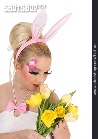Woman, Easter, Bouquet, Costume