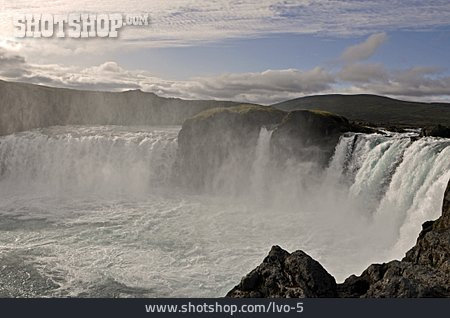 Waterfall, Iceland, Natural Spectacle, Godafoss