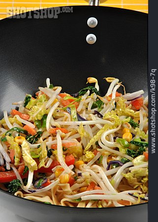 Asian Cuisine, Pasta Dish, Vegetable Pan