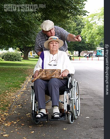 Senior, Care & Charity, Showing, Wheelchair