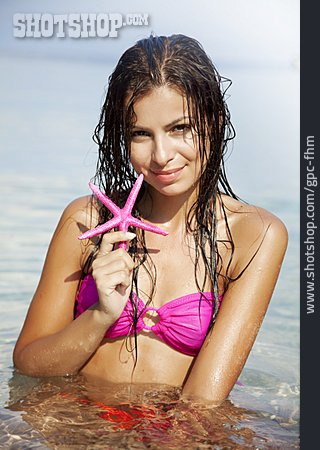 Young Woman, Bathing, Beach Holiday