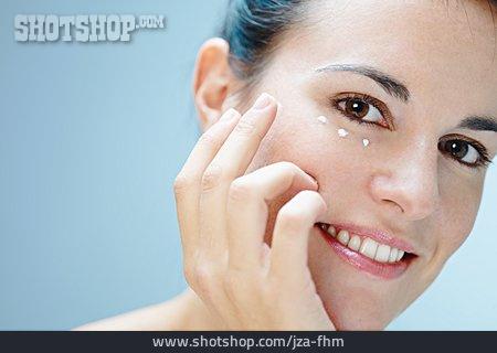 Young Woman, Lotion, Eye Cream