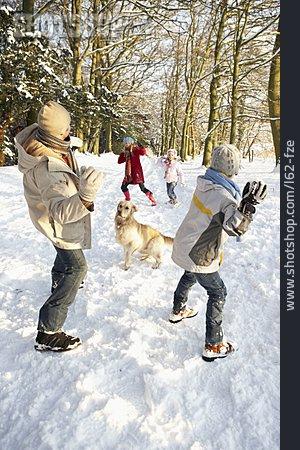 Family, Winter Walk, Snowball Fight