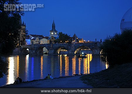 Riverbank, Prague, Charles Bridge
