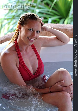 Young Woman, Woman, Wellness & Relax, Relaxation, Hot Tub