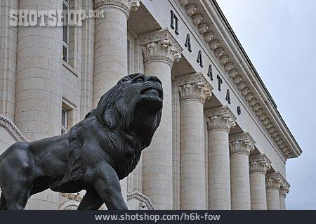 Statue, Lion, Court