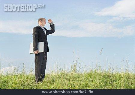 Businessman, View, Vision