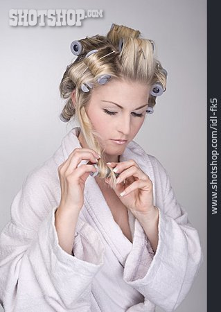 Young Woman, Hairdressing, Curlers