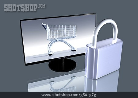 Padlock, Cart, Online Shopping